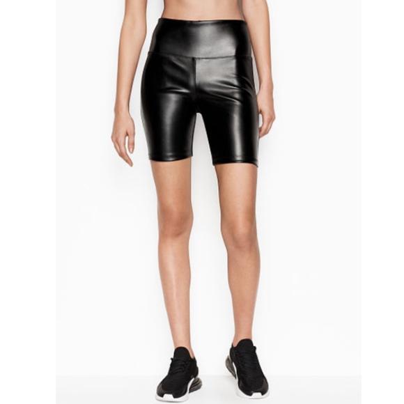 325b21dfc1 Victoria's Secret Sport Faux Leather Biker Short S NWT